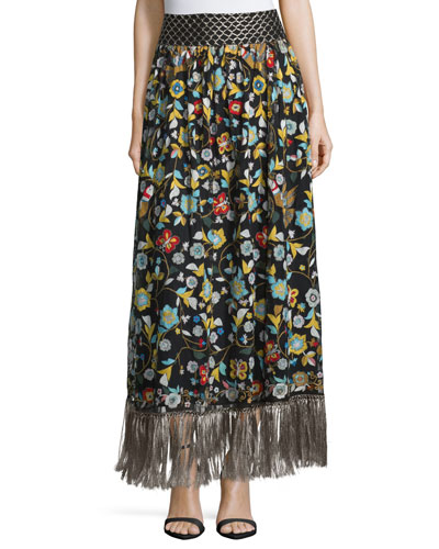Kamryn Floral Fringe-Trim Maxi Skirt, Black/Multicolor