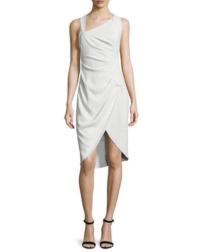 Sleeveless Tulip-Hem Sheath Dress, Dark Bone