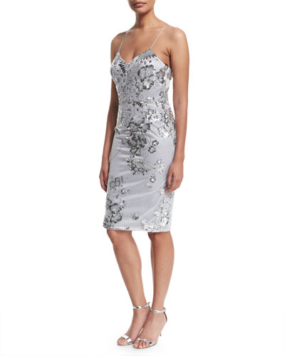 Sleeveless Fitted Sequined Cocktail Dress, Silver