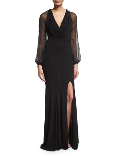 Cap-Sleeve Beaded-Front Godet Gown