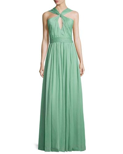 Crisscross-Neck Evening Gown, Meadow