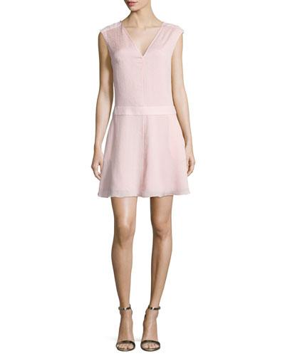Sleeveless Draped-Back Dress, Sorbet