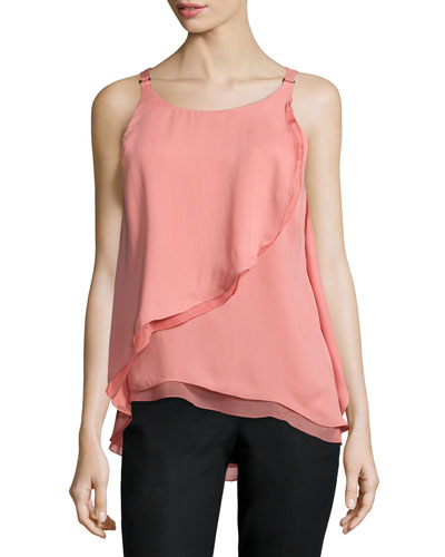Sleeveless Flounce-Draped Top, Blush
