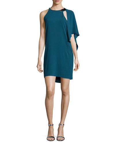 One-Shoulder Sheath Dress, Deep Sea