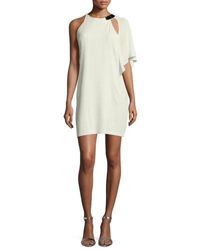 One-Shoulder Sheath Dress, Pistachio
