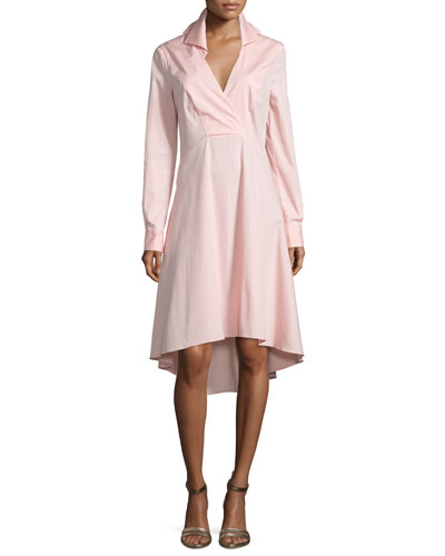 Long-Sleeve V-Neck Shirtdress, Sorbet