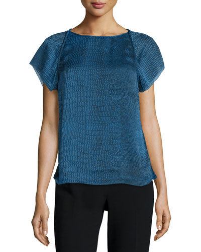 Short-Sleeve Draped-Back Top, Sky Blue Ombre
