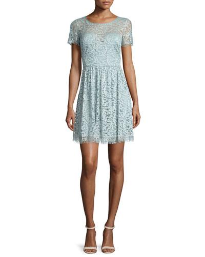 Jenna Short-Sleeve Lace Dress, Ice