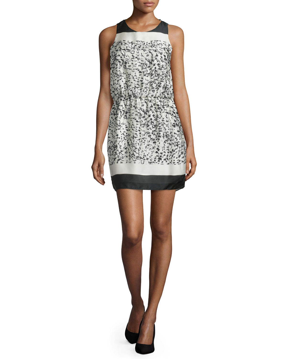 Sleeveless Two-Tone Mini Dress, Bone Batik