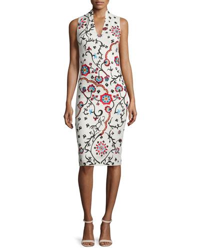 Jacki Sleeveless Embroidered Sheath Dress, White/Multicolor