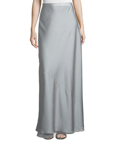 Georgette Maxi Skirt W/Slit, Mist