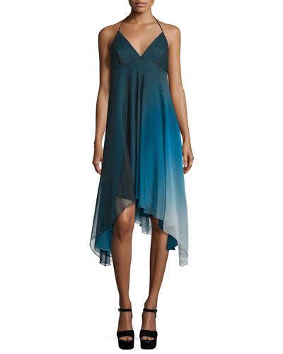 Sleeveless Ombre Flowy Dress, Atlantic