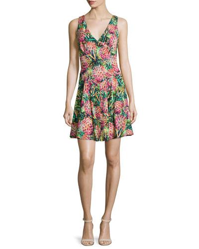 Marilyn Sleeveless Printed Dress, Multi Colors