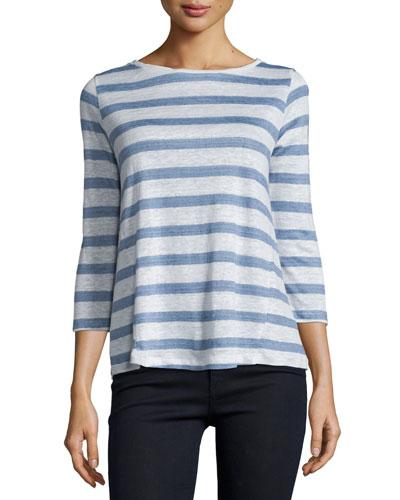 Linen Striped 3/4-Sleeve Top
