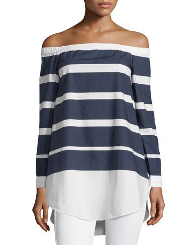 Striped Off-the-Shoulder Poplin Top, Midnight/Soft White