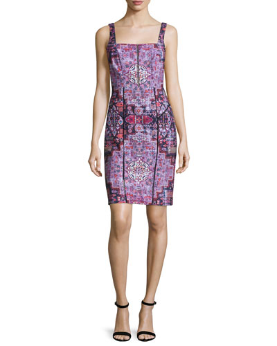 Sleeveless Powernet Sheath Dress, Multicolor