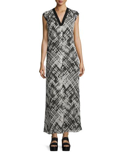 Basketweave-Printed Silk Maxi Dress
