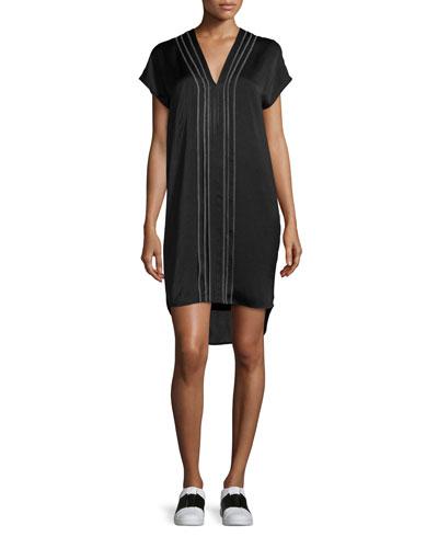 Embroidered-Front V-Neck Shift Dress