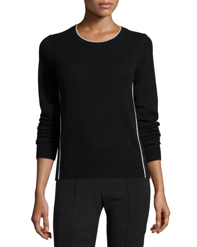 Contrast Tipping Crewneck Sweater, Black/Off-White