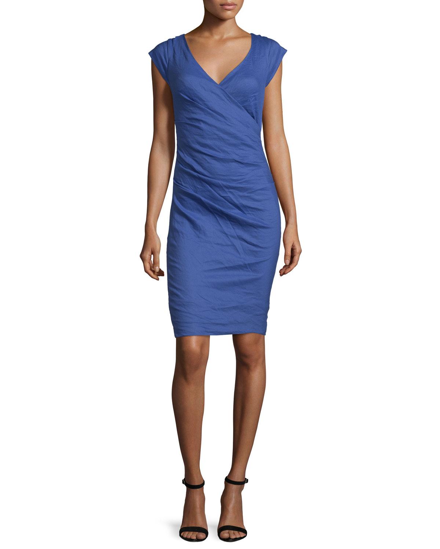 Cap-Sleeve Faux-Wrap Dress, Blue Print