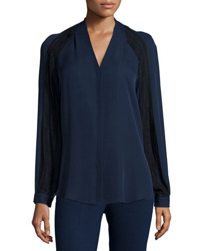 Noor Long-Sleeve Silk Blouse with Lace Insets