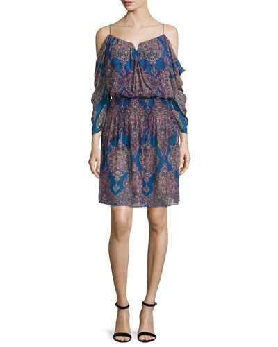 Cold-Shoulder V-Neck Dress, Blue/Multi