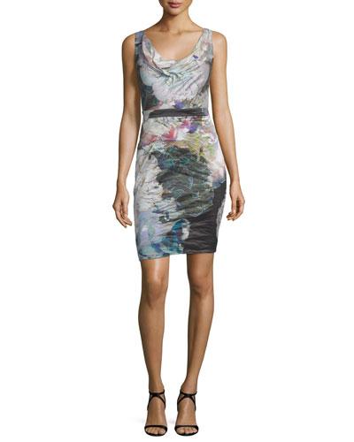 Sleeveless Cowl-Neck Sheath Dress, Multi Colors