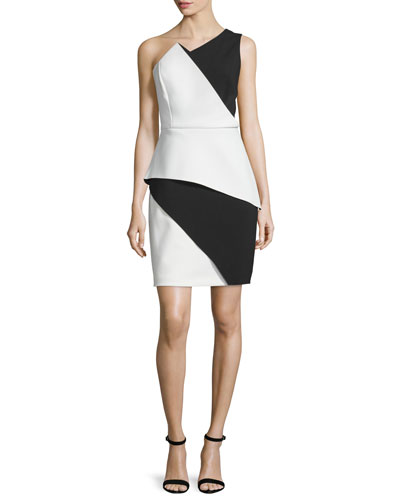 One-Shoulder Colorblock Peplum Dress, Bone/Black
