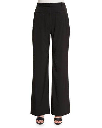 Mid-Rise Wide-Leg Pants, Black