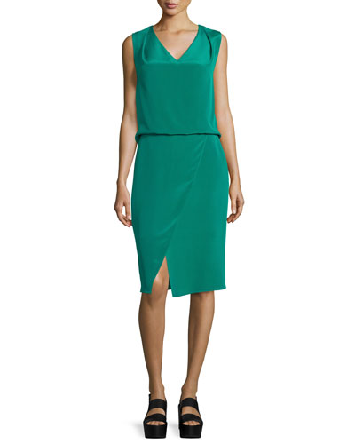 Livia Sleeveless V-Neck Dress, Emerald