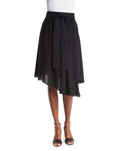 Bria Waist-Tie Asymmetric-Hem Skirt, Black