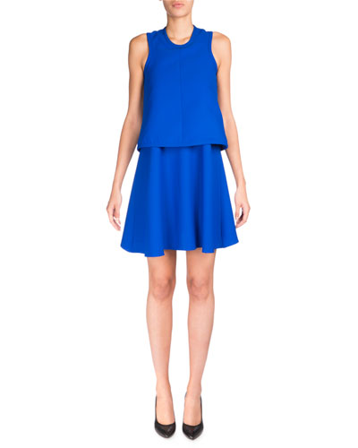 Sleeveless Satin Popover Dress, Royal Blue