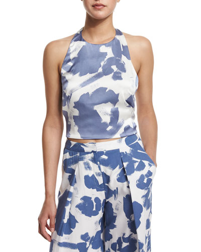 Halter-Neck Printed Tank Top, Tempest