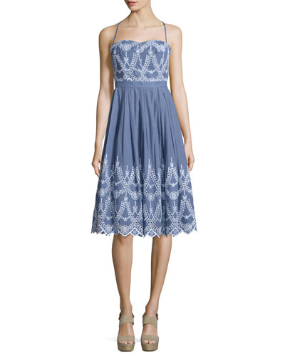 Halter-Neck Eyelet Dress, Tempest