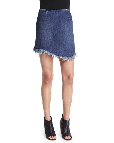 Raw-Edge Seamed Jean Skirt, Denim