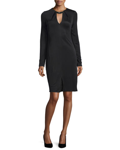 Long-Sleeve Sheath Dress, Black