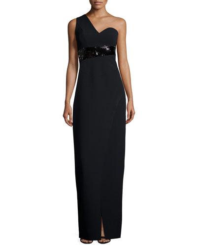 One-Shoulder Embellished Fitted Gown, Black
