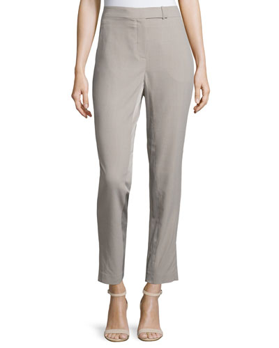 Slim-Fit Ankle Pants, Light Stone