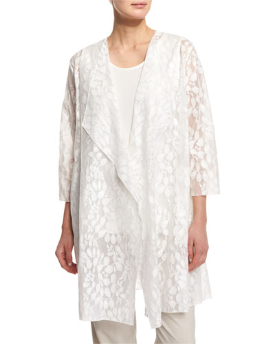 Rain Lace Sheer Topper Jacket, White, Plus Size