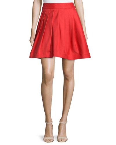 Flared Mini Skirt W/Pleats, Vermillion