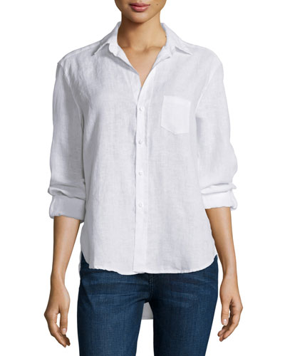 Eileen Button-Front Shirt, White