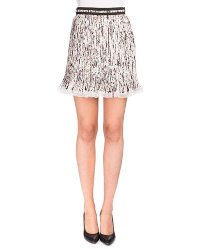Plisse Georgette Splatter Skirt, White/Black