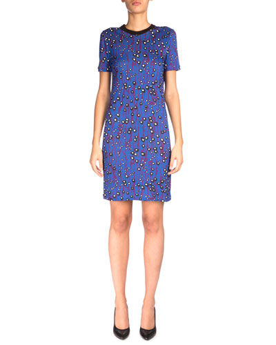 Short-Sleeve Printed T-Shirt Dress, Violet/Blue