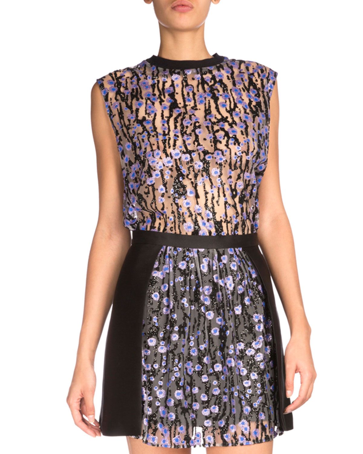 Sleeveless Floral Top, Black/Lilac
