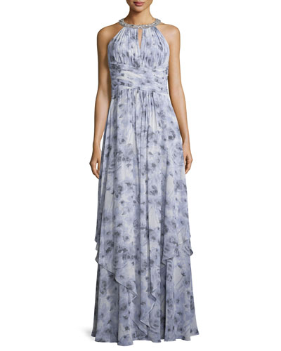 Siena Beaded Halter Chiffon Gown