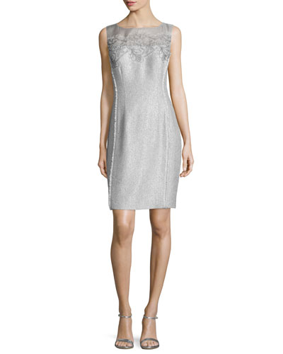 Sleeveless Lace-Bodice Metallic Sheath Dress, Sky
