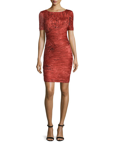 Short-Sleeve Bandage Dress, Pomegranate