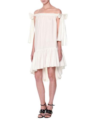 Poplin Off-the-Shoulder Shift Dress, White