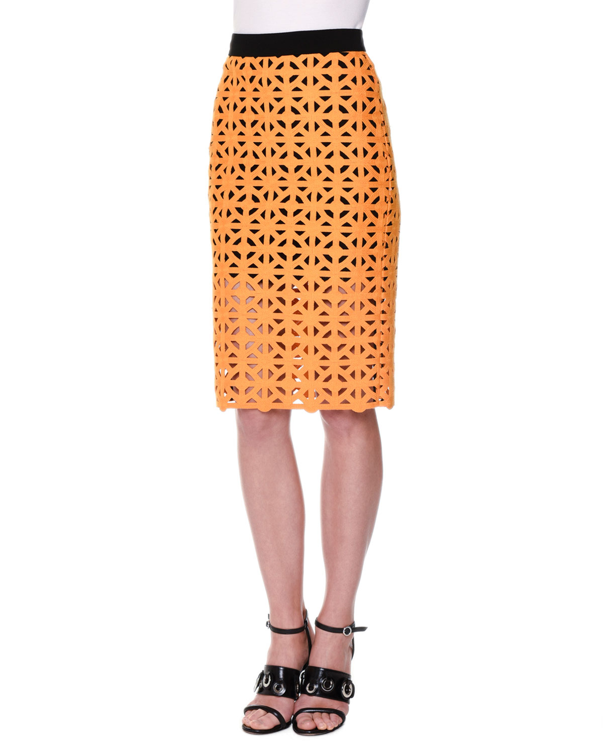 Geometric Macrame Pencil Skirt, Yellow