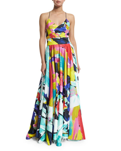 Sleeveless V-Neck Floral-Print Gown, Multi Colors